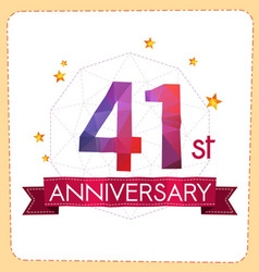 Colorful polygonal anniversary logo 2 041 vector