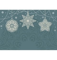 Retro christmas background with white snowflakes vector