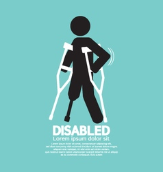 Disabled person with crutch black symbol il vector