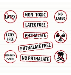 Latex and phthalate free stamps set vector