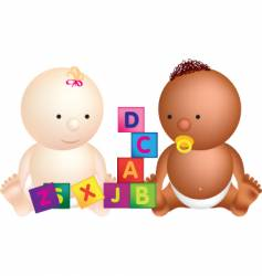 babies and blocks vector image