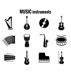 Black Music Instrument Icons on White Background vector image vector image