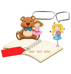 Blank notebook with two girls and teddybear vector