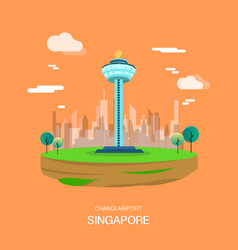 changi airport landmark in singapore design vector image vector image