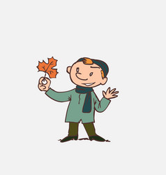 child looking with interest at an autumn leaf vector image vector image