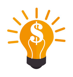 Colorful silhouette light bulb with dollar symbol vector