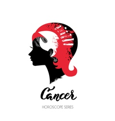 Crab zodiac sign Beautiful girl silhouette vector image vector image