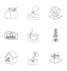 farm garden and other web icon in outline style vector image vector image