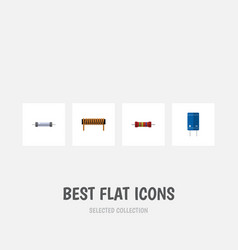 Flat icon electronics set of transistor bobbin vector