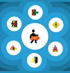 Flat icon emergency set of evacuation fire exit vector