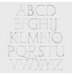 Font Antiqua Hand drawn construction sketch vector image vector image