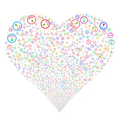 Gauge fireworks heart vector
