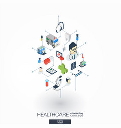 healthcare integrated 3d web icons digital vector image vector image