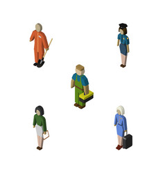 isometric person set of policewoman pedagogue vector image vector image