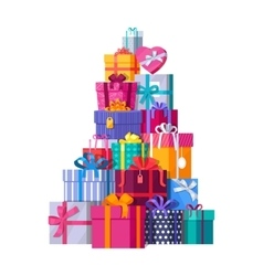 Mountain of colorful gift boxes on white vector