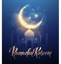 Ramadan Kareem greeting lettering card with moon vector image vector image