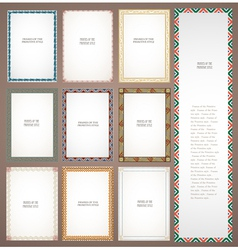 Set frames in tribal style vector