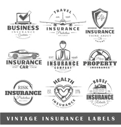 Set of vintage insurance labels vector
