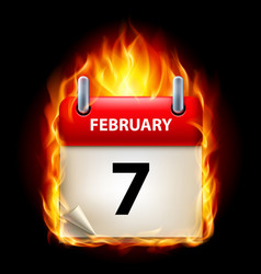 Seventh february in calendar burning icon on vector