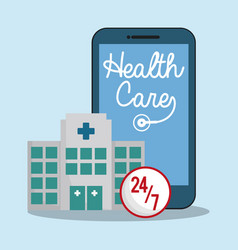 Smartphone hospital health care 24-7 vector