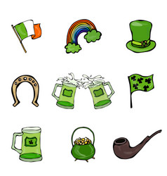 st patrick s day icons collection vector image