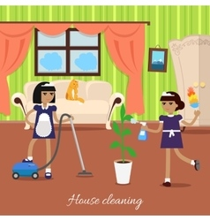Two girls in uniform and apron make house cleaning vector