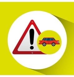 Warning road sign sedan red vector