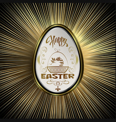 white easter egg with gold border vector image vector image