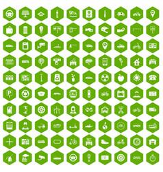 100 parking icons hexagon green vector