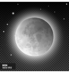Realistic detailed full blue moon isolated on vector
