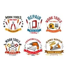 Repair work tools icons set vector