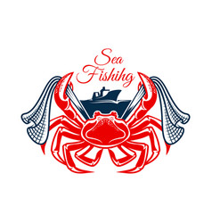 Sea fishing symbol with crab and net vector