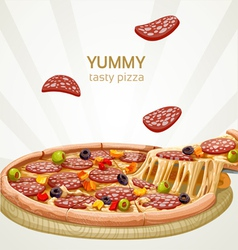 Yummy tasty pizza with sausage banner vector