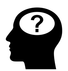 Silhouette of head with question mark vector