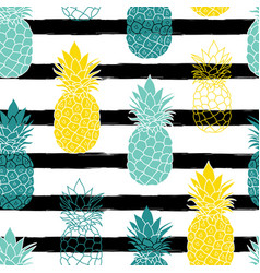 Colorful pineapples on black stripes repeat vector