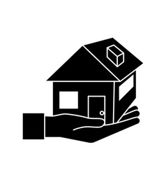 contour hand with house architecture design icon vector image