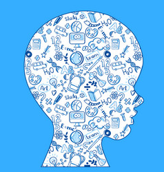 School learning kids head with doodles vector