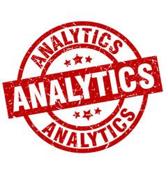 Analytics round red grunge stamp vector