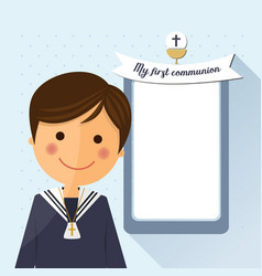 First communion child foreground on square vector