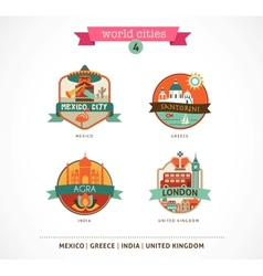 World Cities labels - Santorini London Agra Mexico vector image