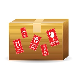 Brown box with icons vector