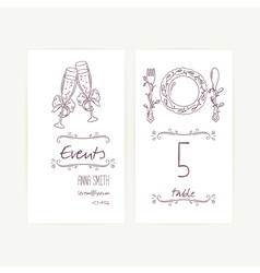 Set of monochrome wedding card templates vector