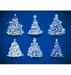 Hand-drawn christmas trees vector