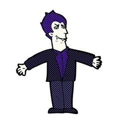comic cartoon vampire man with open arms vector image