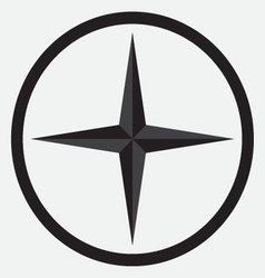 Compass star icon monochrome black white vector