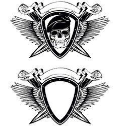 Shield crossed knives and skull in beret vector