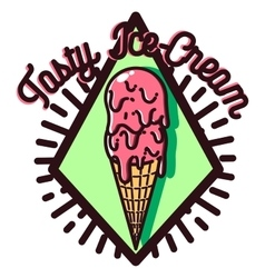 Color vintage ice cream emblem vector