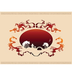 Abstract Asian Landscape vector image vector image