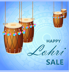 Banner with hanging drums for sale poster vector