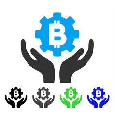 Bitcoin gear care hands flat icon vector